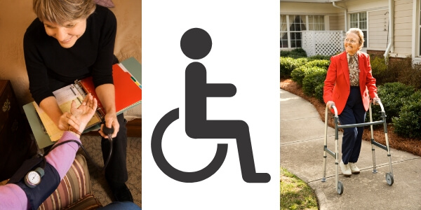 photo of homecare nurse, wheel chair and woman with walker