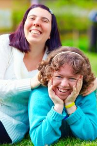 special needs woman and friend